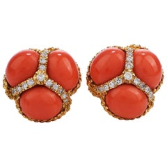 Vintage Red Coral Diamond 18 Karat Gold Clip-On Earrings