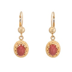 Vintage Red Coral Drop Earrings 18 Karat Yellow Gold Oval Estate Fine Jewelry