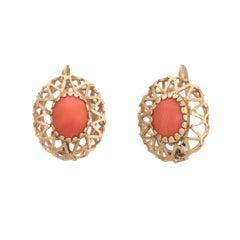 Vintage Red Coral Earrings Drops 10 Karat Gold Estate Fine Jewelry Heirloom