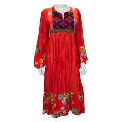 Vintage Red Cotton Boho Dress