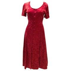 Vintage Red Crushed Velvet Dress