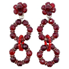 Vintage Red Crystal Cascade Statement Earrings 1960s