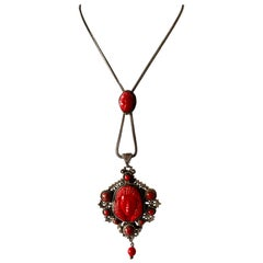 Vintage Red Egyptian Revival Czech Necklace