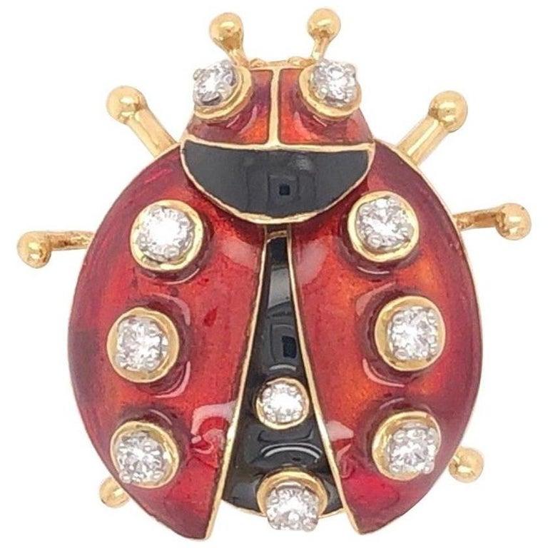 Vintage Red Enamel Diamond 18 Karat Gold Ladybug Brooch Pin Estate Fine Jewelry For Sale