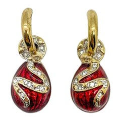Vintage Red Enamel Egg & Coiled Snake Earrings 1980s