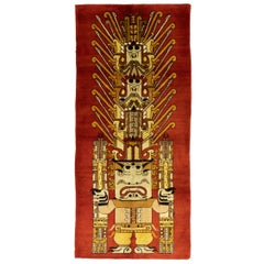 Vintage Red European Wool Rug with Mayan Culture Design, 1950-1970