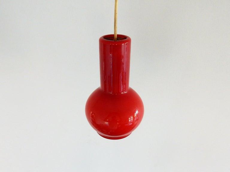 Mid-Century Modern Vintage Red Glass Pendant Lamp, Denmark