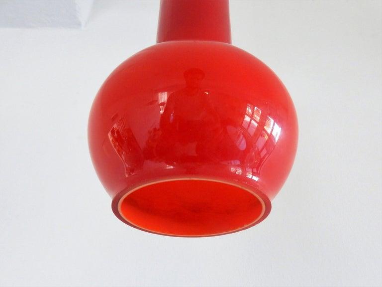 European Vintage Red Glass Pendant Lamp, Denmark For Sale
