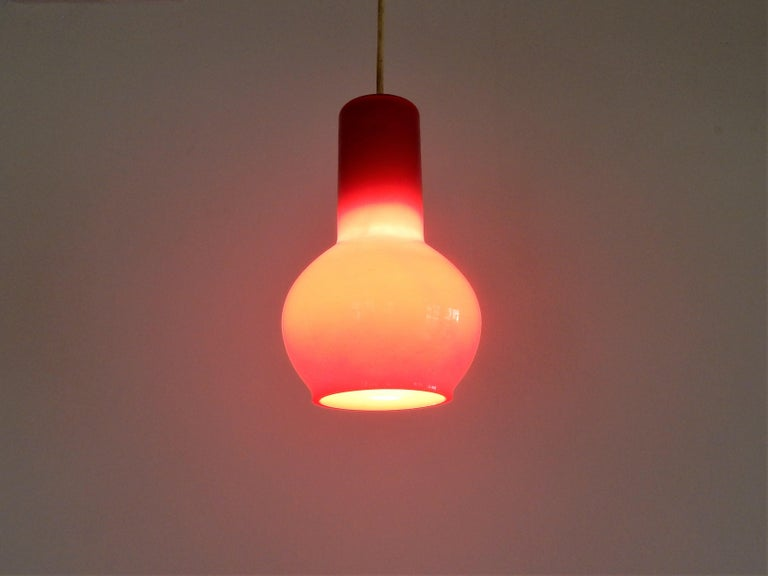 Mid-20th Century Vintage Red Glass Pendant Lamp, Denmark For Sale