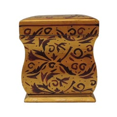 Vintage Red and Gold Bombay Hand Carved Wood Playing Cards Box with Lid