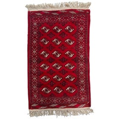 Vintage Red Hand Woven Oriental Rug