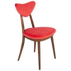 Vintage Red Heart Velvet Chair, Poland, 1960s