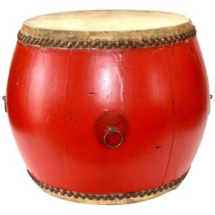 Vintage Red Lacquered Drum, Maker's Mark