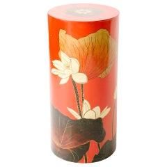 Vintage Red Lacquered Lotus Pedestal
