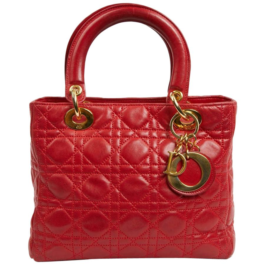 Vintage Red Lady Dior Cannage Quilt Lambskin Bag