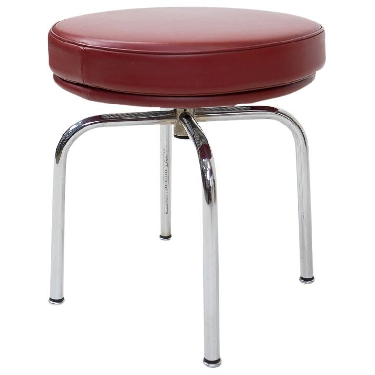 Vintage Red Lc8 Stools by Charlotte Perriand for Cassina, 1980s For Sale