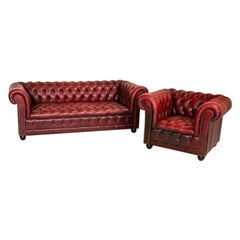Vintage Red Leather Chesterfield Sofa and Club Chair, England