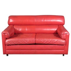 Vintage Red Leather Loveseat