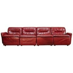 Vintage Red Leather Sectional Sofa