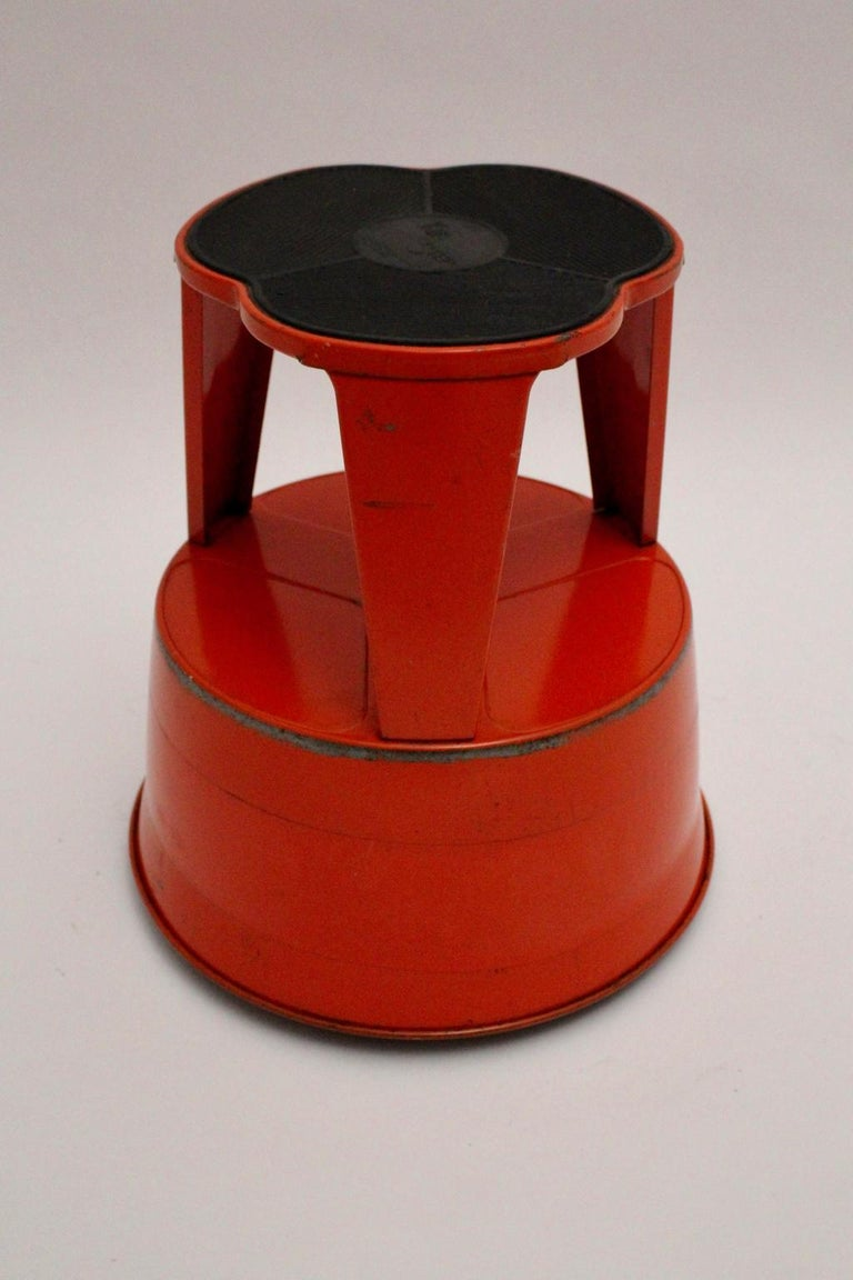 Miraculous Vintage Red Metal Kik Step Stool By Marc Adnet Blanc Mesnil France 1970S Ncnpc Chair Design For Home Ncnpcorg