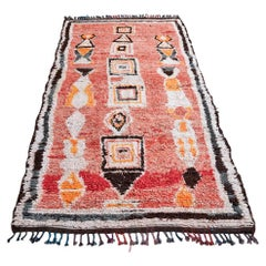 Vintage Red Middle Atlas Rug in Wool with Multicolored Pattern, Morocco, 1980's