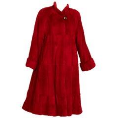Vintage Red Mink Fur Full Length Coat