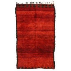 Vintage Red Moroccan Rug, Berber Shag Rug with Retro Modern Style