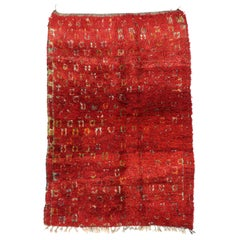 Vintage Red Moroccan Rug with Expressionist Style Inspired by Robert Delaunay