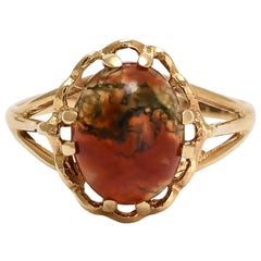 Vintage Red Moss Agate Ring