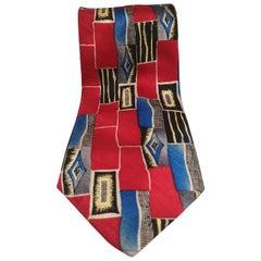 Vintage red multicoloured silk tie