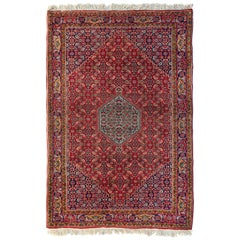 Vintage Red Navy Blue Tribal Geometric Persian Bijar Small Rug