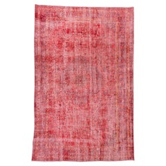 Vintage Red Overdyed Wool Rug, Shabby Chic