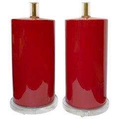 Vintage Red Porcelain Lamps