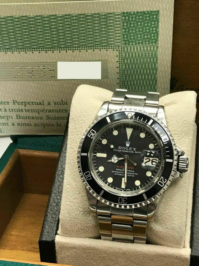 Vintage Red Rolex Submariner 1680 Original Dial Complete Box & Papers, 1970 In Excellent Condition For Sale In San Diego, CA
