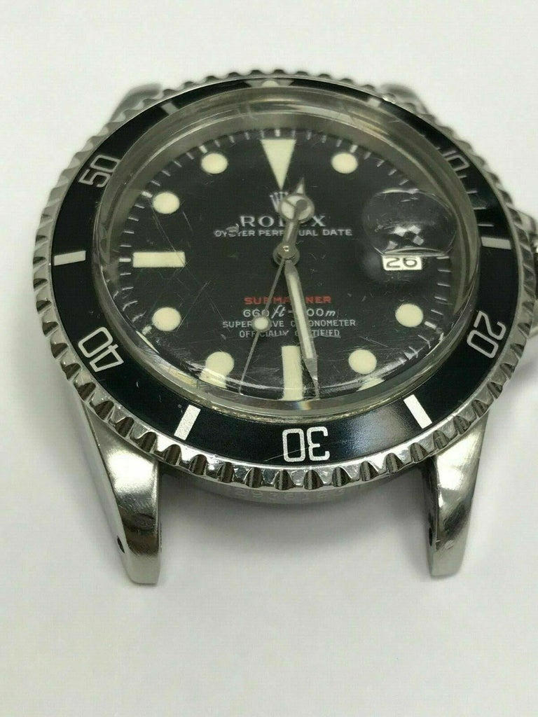 Men's Vintage Red Rolex Submariner 1680 Original Dial Complete Box & Papers, 1970 For Sale