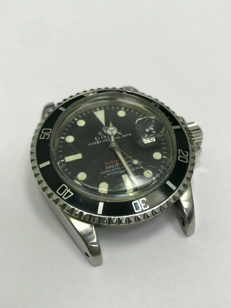 Vintage Red Rolex Submariner 1680 Original Dial Complete Box & Papers, 1970 For Sale 2