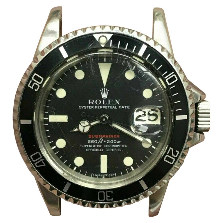 Vintage Red Rolex Submariner 1680 Original Dial Complete Box & Papers, 1970 For Sale