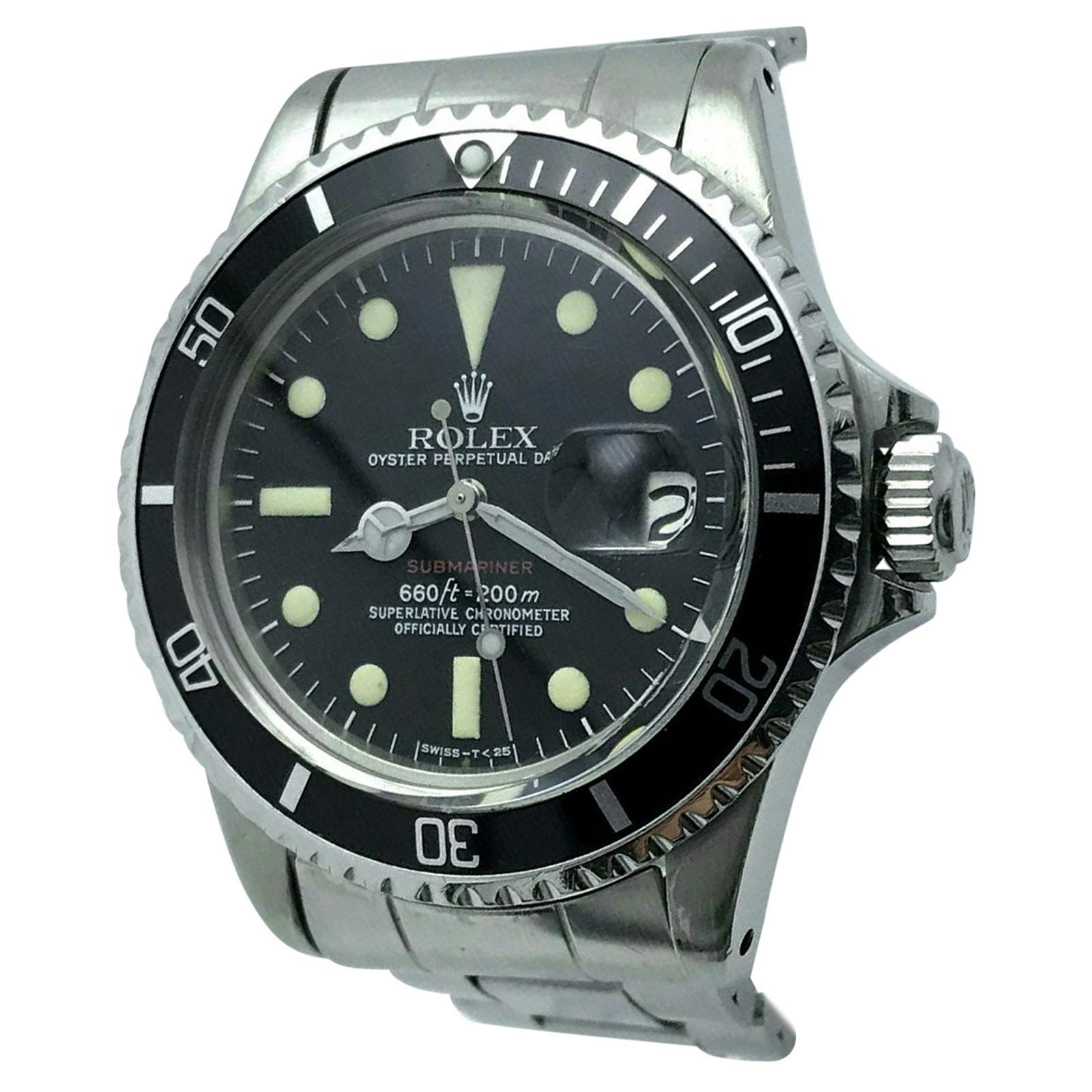 Vintage RED Rolex Submariner 1680 Stainless Steel 1973 Mark VI Dial 1973