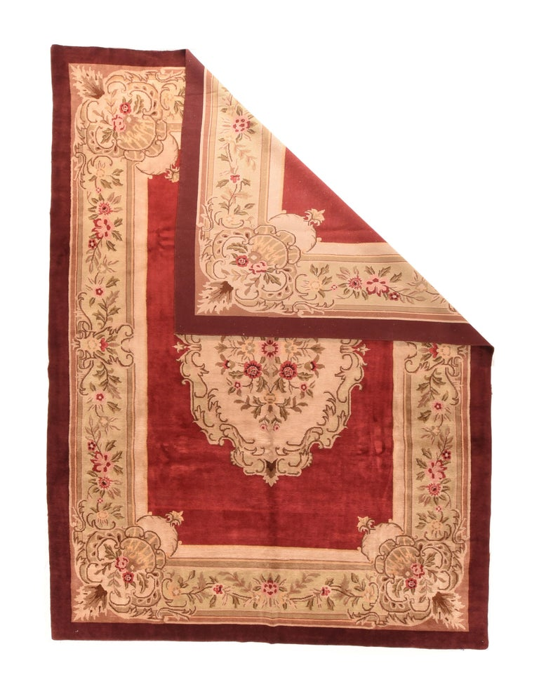 French Vintage Aubusson Area Rug For Sale