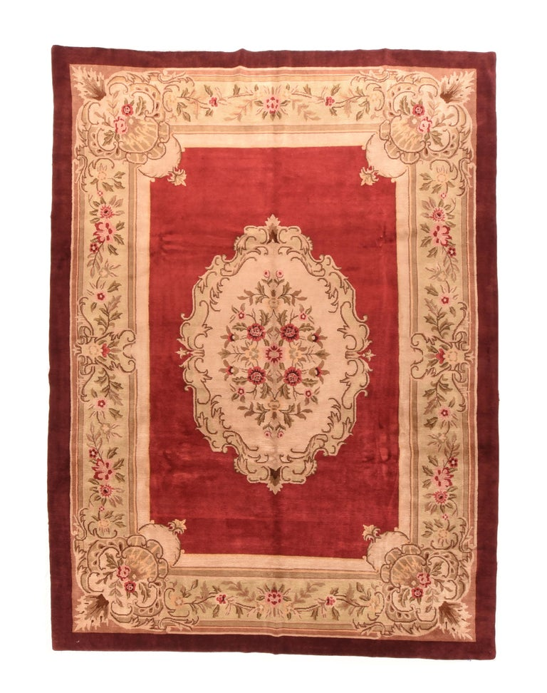 Hand-Knotted Vintage Aubusson Area Rug For Sale