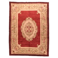 Vintage Red Savonnerie Weave Rug, Hand Knotted, circa 1950s