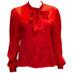 Vintage Red Self Stripe Pussy Bow Blouse by  Mr Pearcy