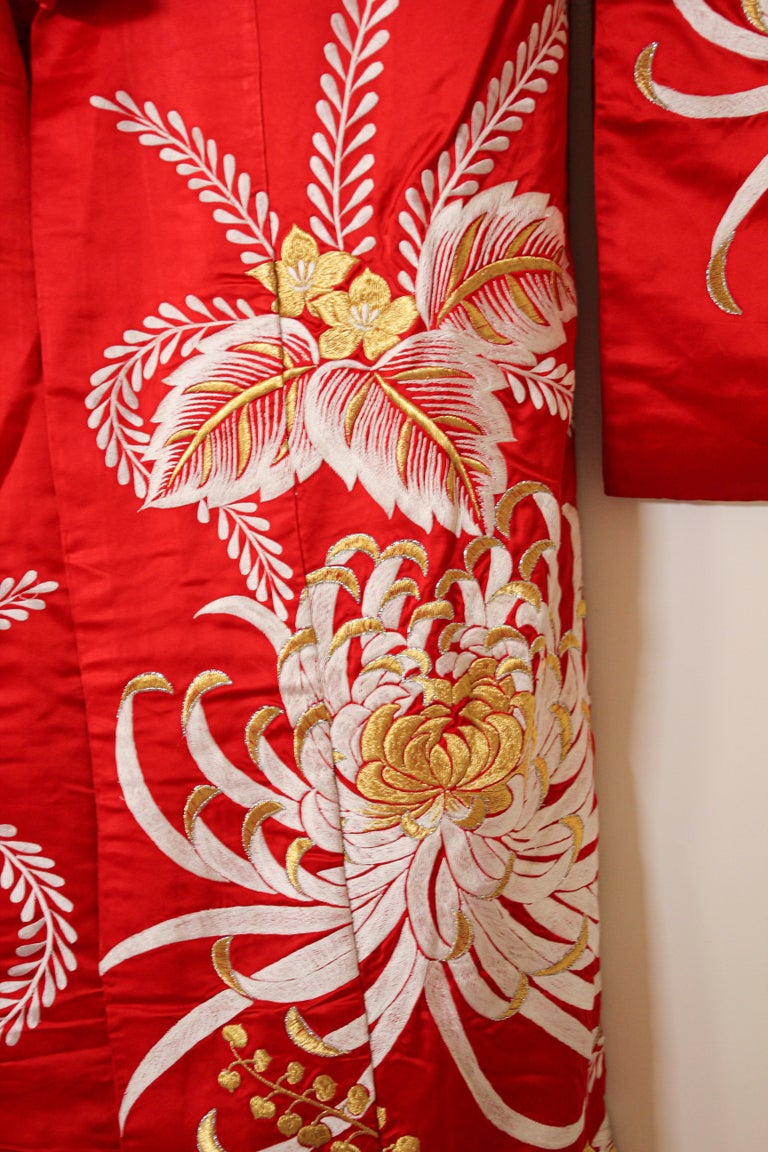 Hand-Crafted Vintage Red Silk Brocade Japanese Ceremonial Kimono For Sale