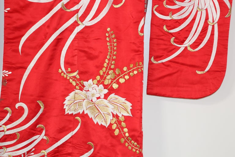 Vintage Red Silk Brocade Japanese Ceremonial Kimono For Sale 2