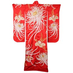 Vintage Red Silk Brocade Japanese Ceremonial Kimono