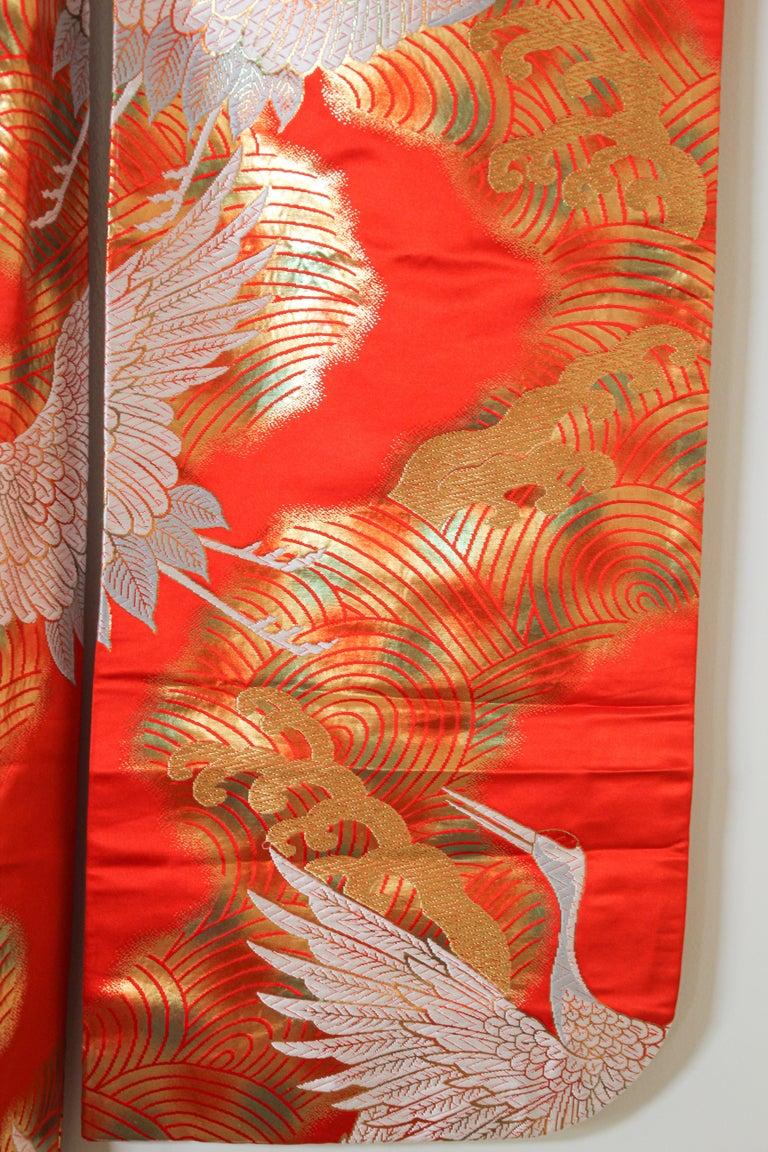 Vintage Red Silk Brocade Japanese Ceremonial Wedding Kimono For Sale 4