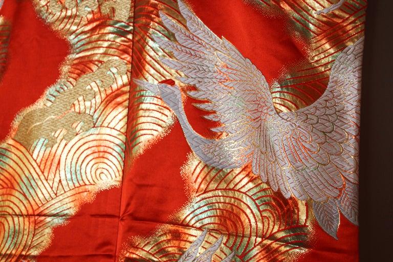 Vintage Red Silk Brocade Japanese Ceremonial Wedding Kimono For Sale 5