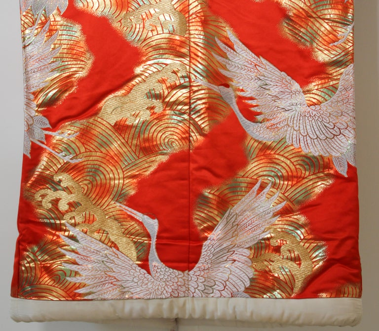 Vintage Red Silk Brocade Japanese Ceremonial Wedding Kimono For Sale 6