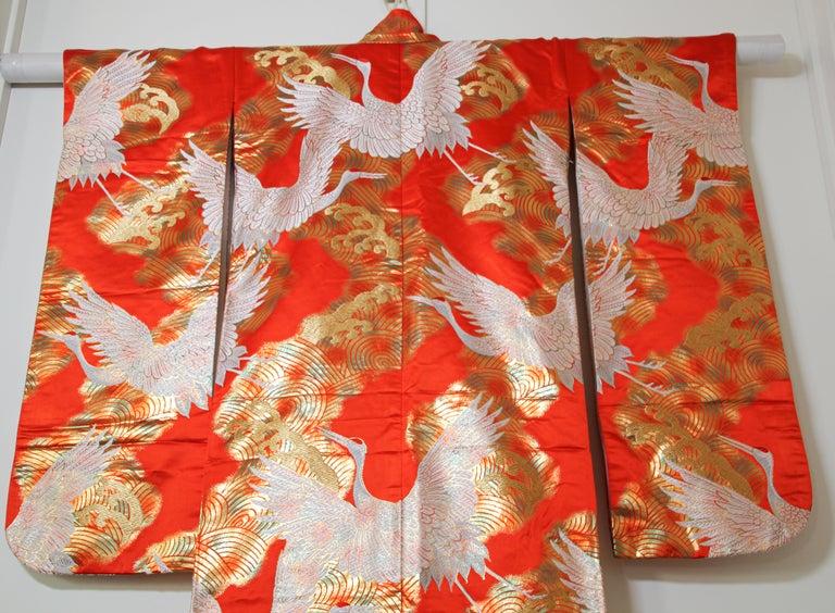 Vintage Red Silk Brocade Japanese Ceremonial Wedding Kimono For Sale 7