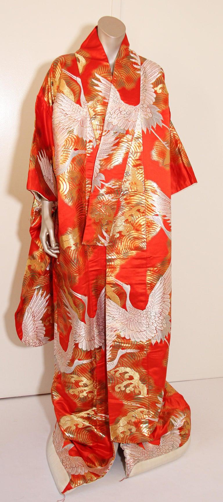 Vintage Red Silk Brocade Japanese Ceremonial Wedding Kimono For Sale 8